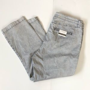 NWT Anthropologie Cropped Chino slim Pants In Grey